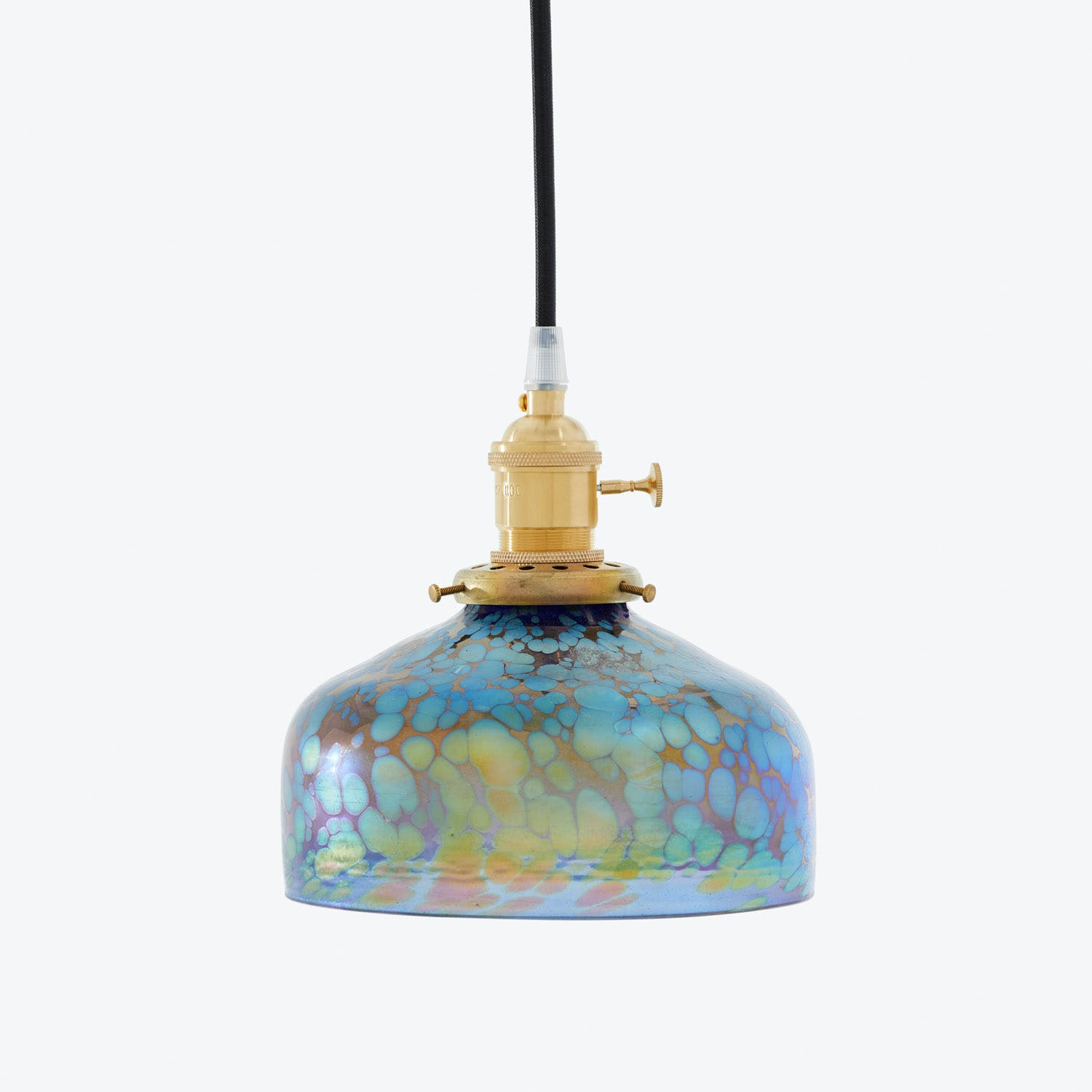 Product Image - Art Glass Dome Pendant Iridescent Mottled Blue