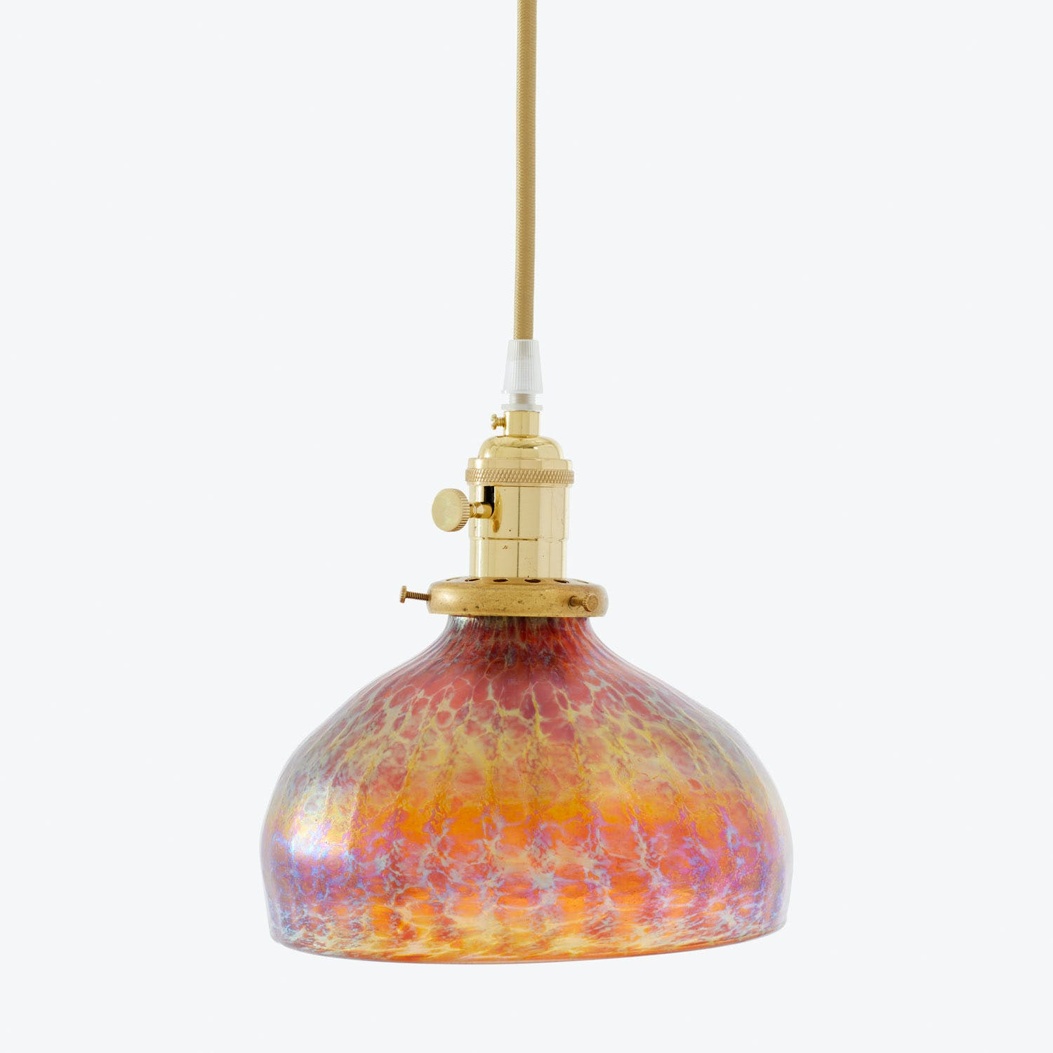 Product Image - Art Glass Dome Pendant Iridescent Amber