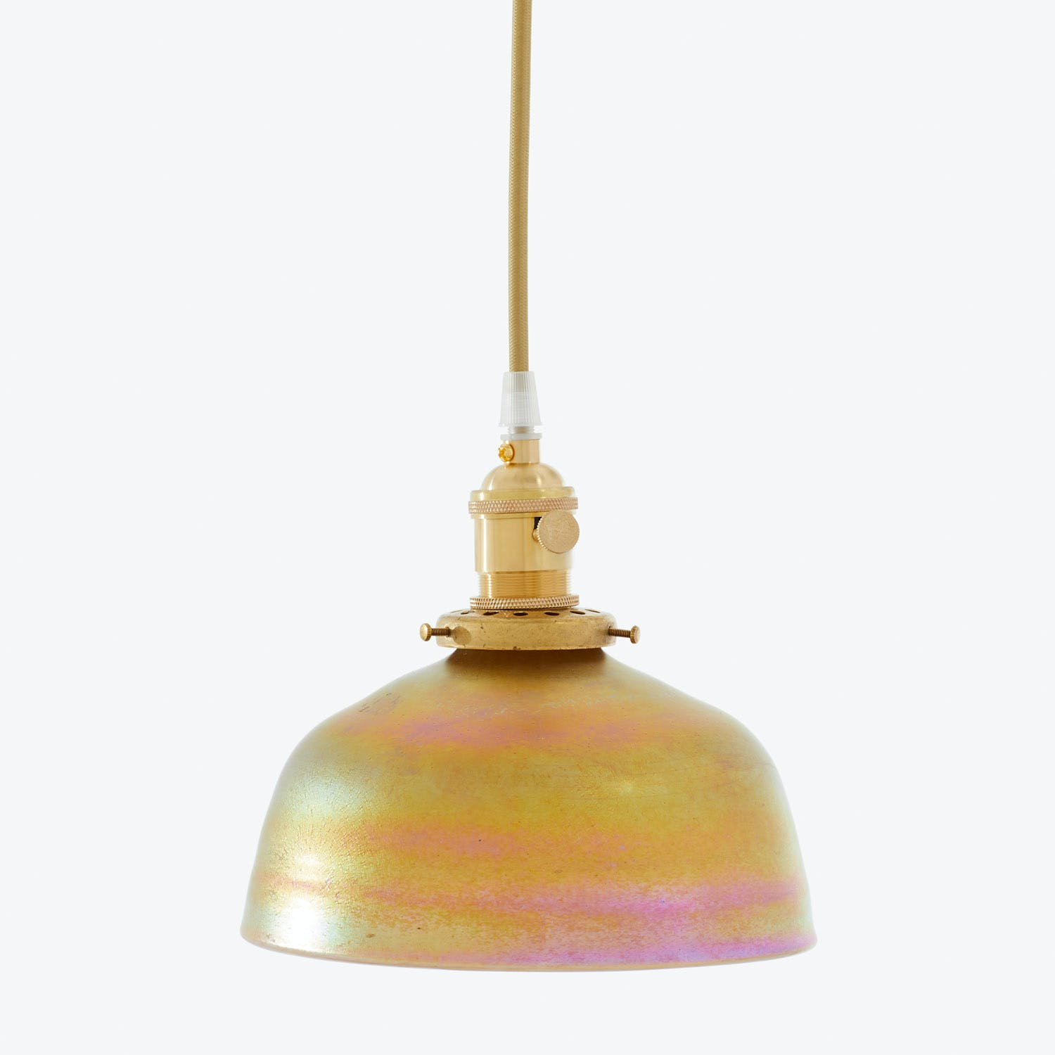Product Image - Art Glass Dome Pendant Iridescent Gold