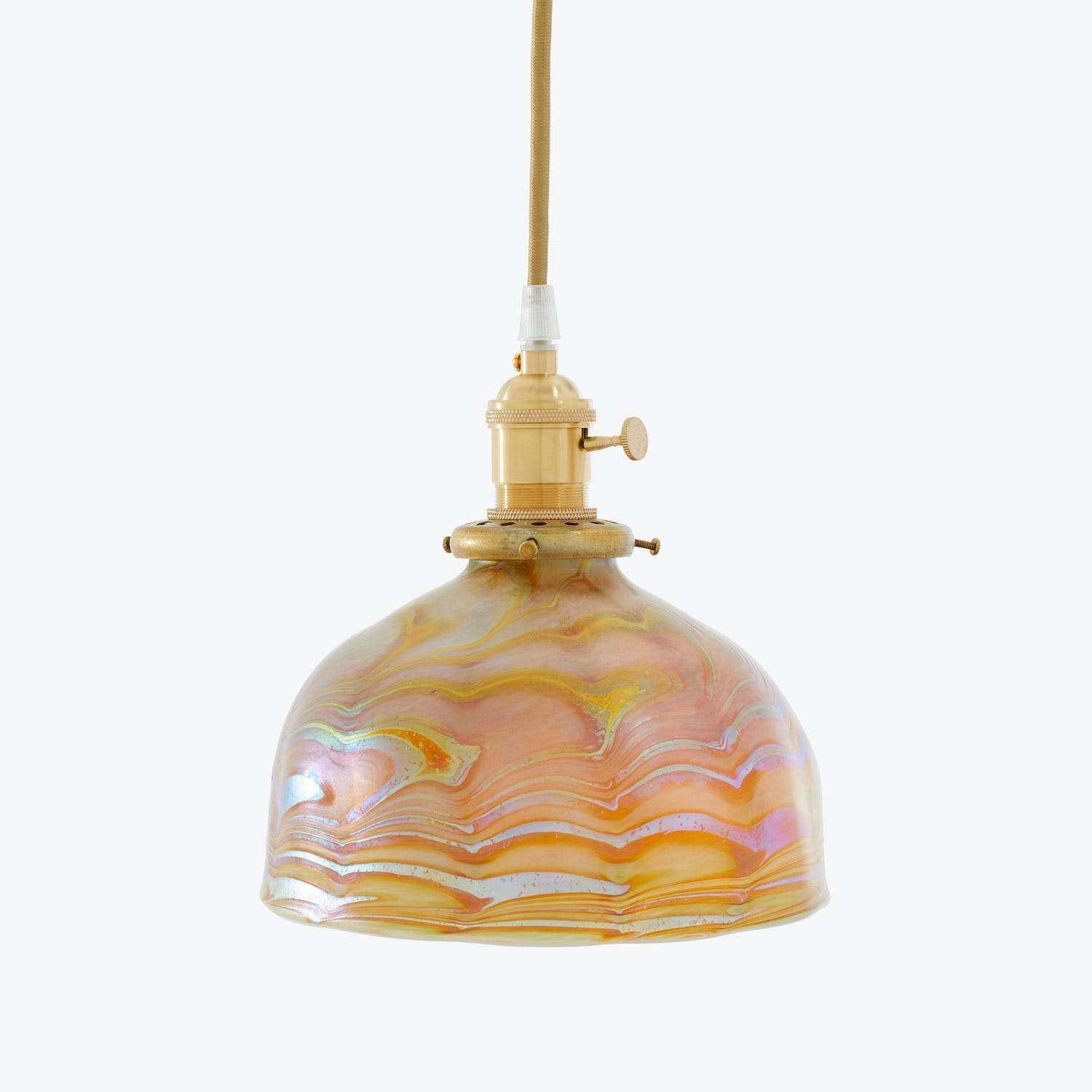 Product Image - Art Glass Dome Pendant Gold Swirl