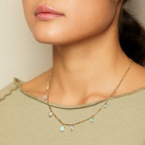 Product Image - ABC opal, pearl + sapphire token necklace