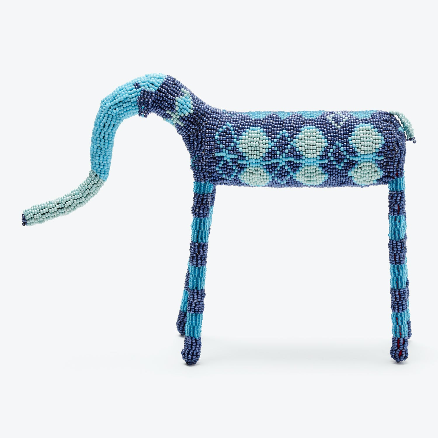 Beaded Animal Ornament Blue Elephant