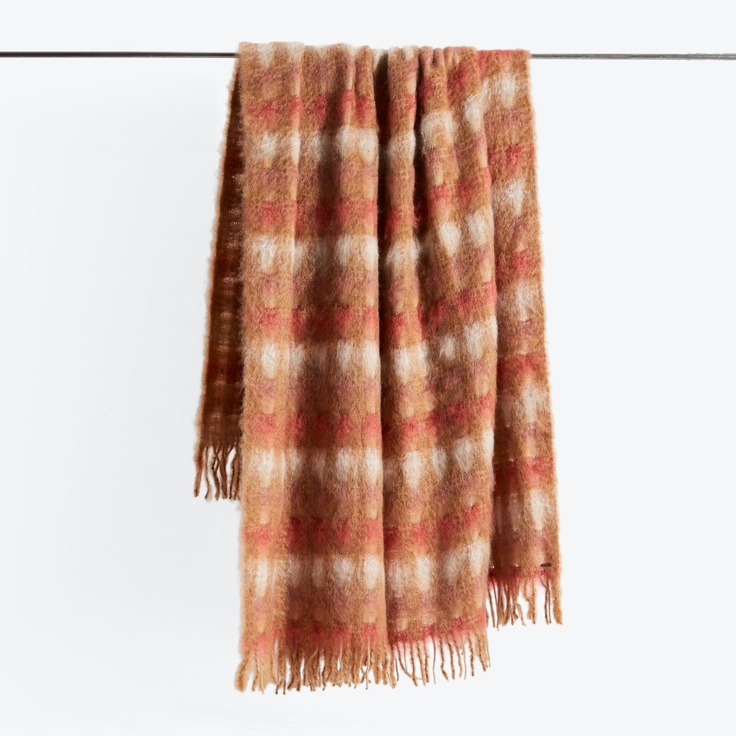 Mohair Plaid Throw Rouge