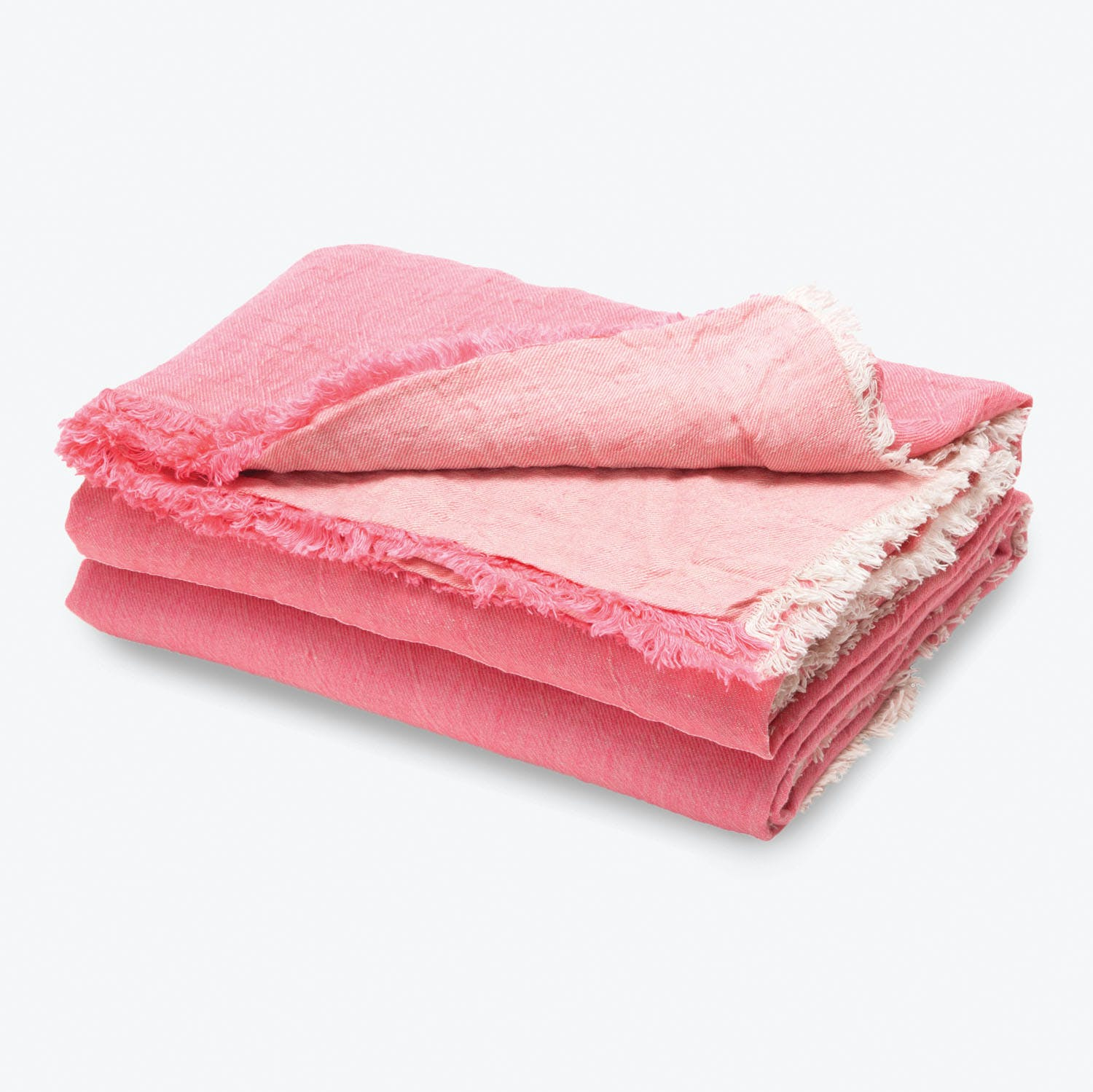 Washed Linen Throw Bright Pink