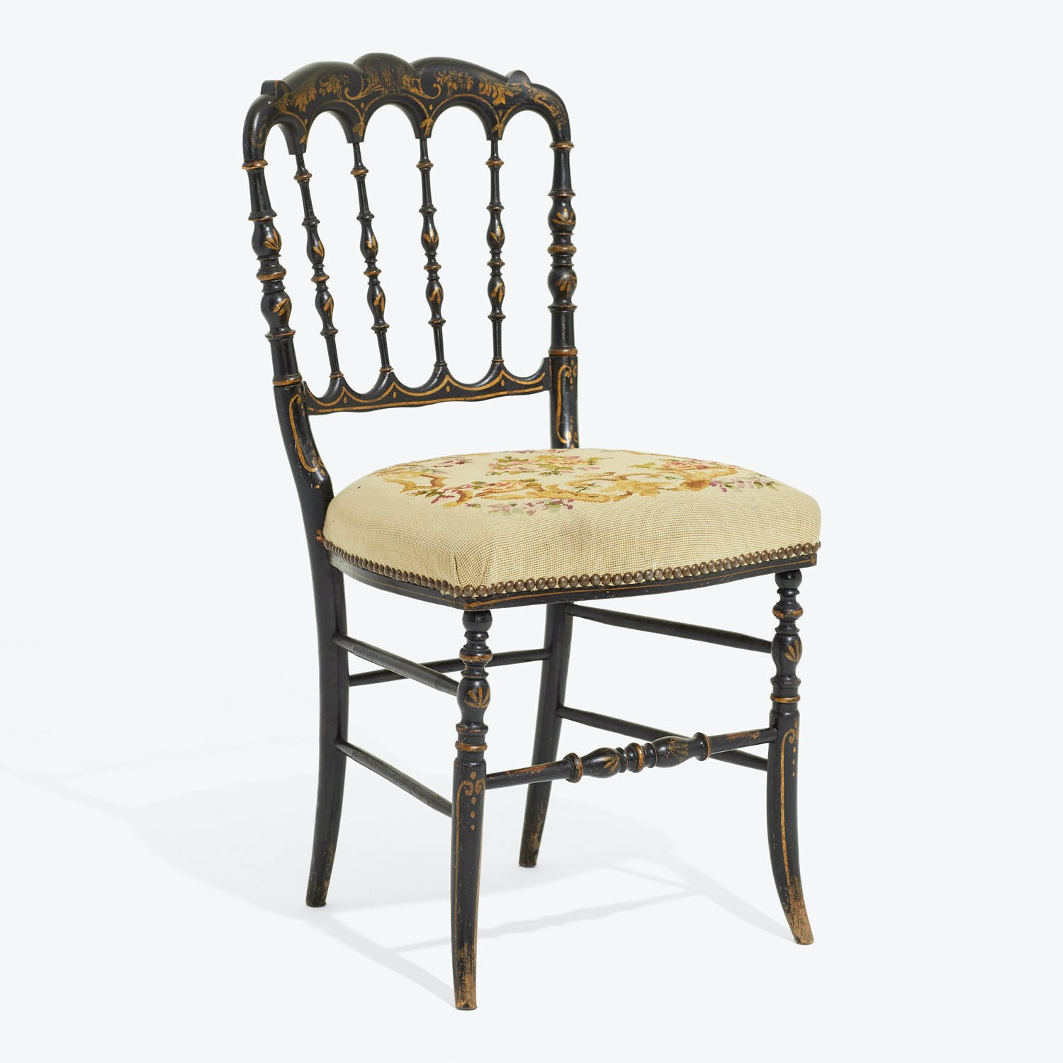 Antique Embroidered Side Chair