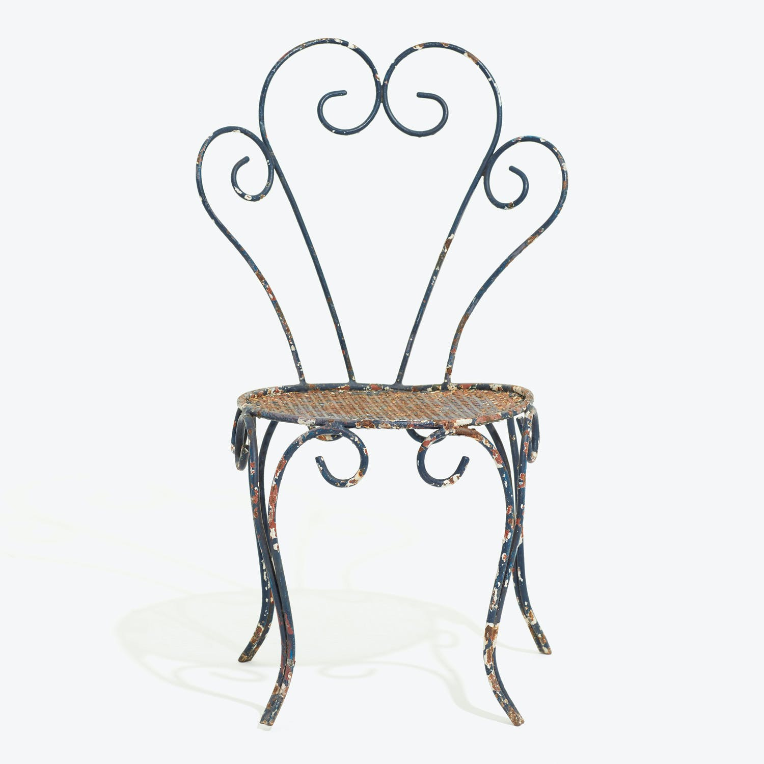 Antique Outdoor Side Chair Blue