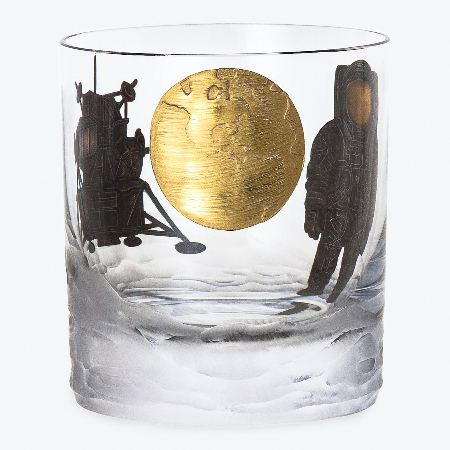Space Race Double Old Fashioned Glass Apollo 11