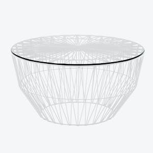 Product Image - Glass Drum Table White