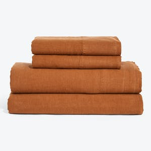 Product Image - Simple Linen Sheets + Pillowcases Terracotta