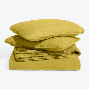 Product Image - Simple Linen Quilt + Shams Mustard