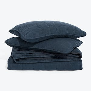 Product Image - Simple Linen Quilt + Shams Navy