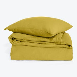 Product Image - Simple Linen Duvet + Shams Mustard