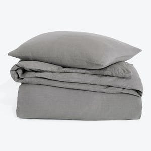 Product Image - Simple Linen Duvet + Shams Dark Gray
