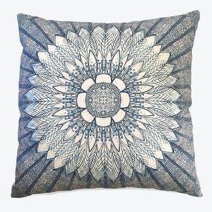 Product Image - Sunflower Radiance Reversible Linen Pillow Cobalt