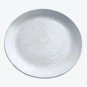 Product Image - Round Sgraffito Spirit Eye Plate White